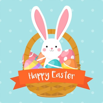 Easter basket with cute bunny