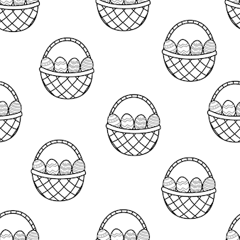 Easter basket with eggs black and white seamless pattern coloring page illustration