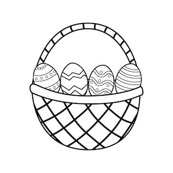 Пасхальная корзина с яйцами, раскраски страницы иллюстрации