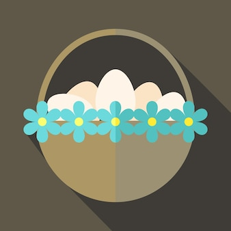 Easter basket with flowers and eggs. flat stylized illustration with shadow