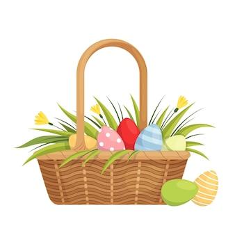 塗装卵、チューリップ、クロッカスのイースターバスケット。漫画フラット。白い背景で隔離。