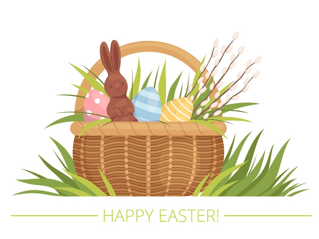 塗装卵、柳、チョコレートウサギのイースターバスケット。漫画フラット。白い背景で隔離。