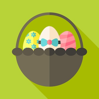 Easter basket with three eggs. flat stylized illustration with shadow