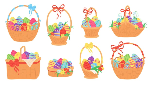 Easter baskets. painted chocolate eggs in wicker basket with ribbon, grass, tulip and snowdrop flower. spring traditional holiday vector set. illustration basket easter with eggs