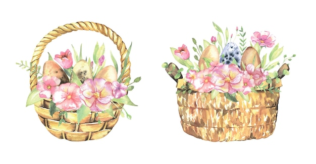 Easter baskets with eggs flowers