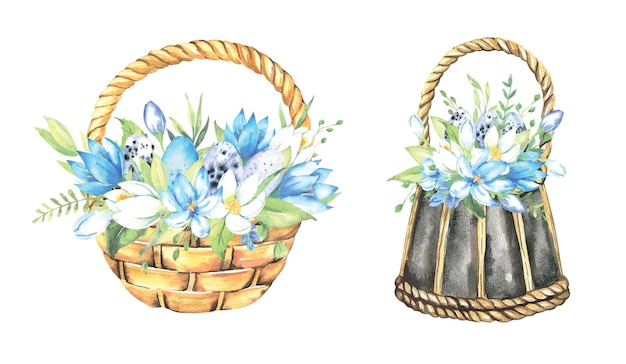 Easter baskets with natural eggs