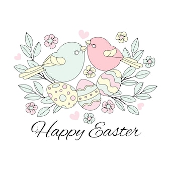Easter birds great religious holiday vector illustration set