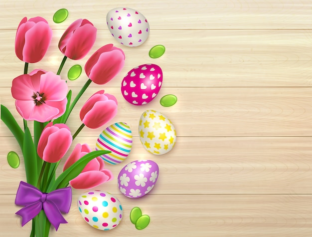 Easter bouquet of flowers with colourful eggs on natural wooden table background with leaves and bow  illustration
