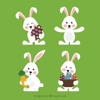 Easter bunnies collection in flat style