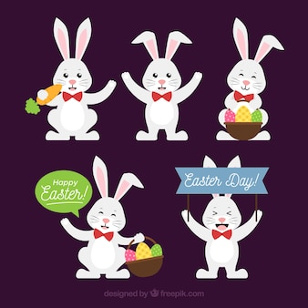 Raccolta di coniglietti pasquali in stile piano