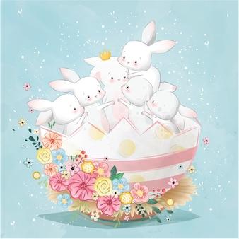 Пасхальные кролики в яйце