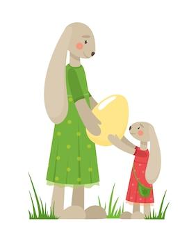 부활절 토끼 어머니 토끼는 딸 토끼에게 달걀을 제공합니다.