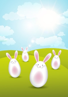 Easter bunnies in sunny landscape