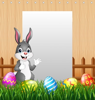 Easter bunnies with blank sign background
