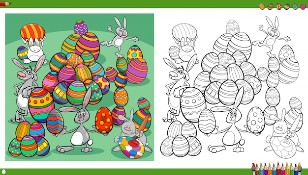 Easter bunnies with color eggs coloring book page