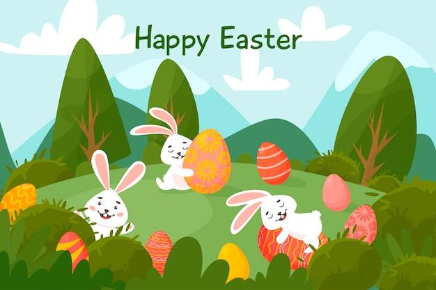 牧草地で卵とイースターのウサギ。