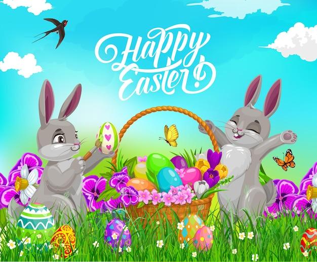 Пасхальные кролики с яйцами