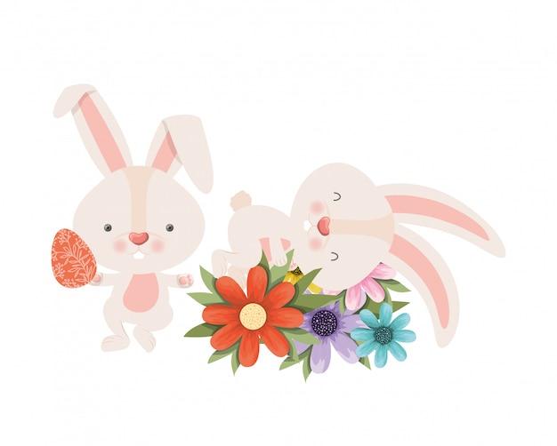イースターのウサギと花分離アイコン