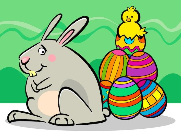 부활절 토끼와 계란 만화 일러스트 레이션