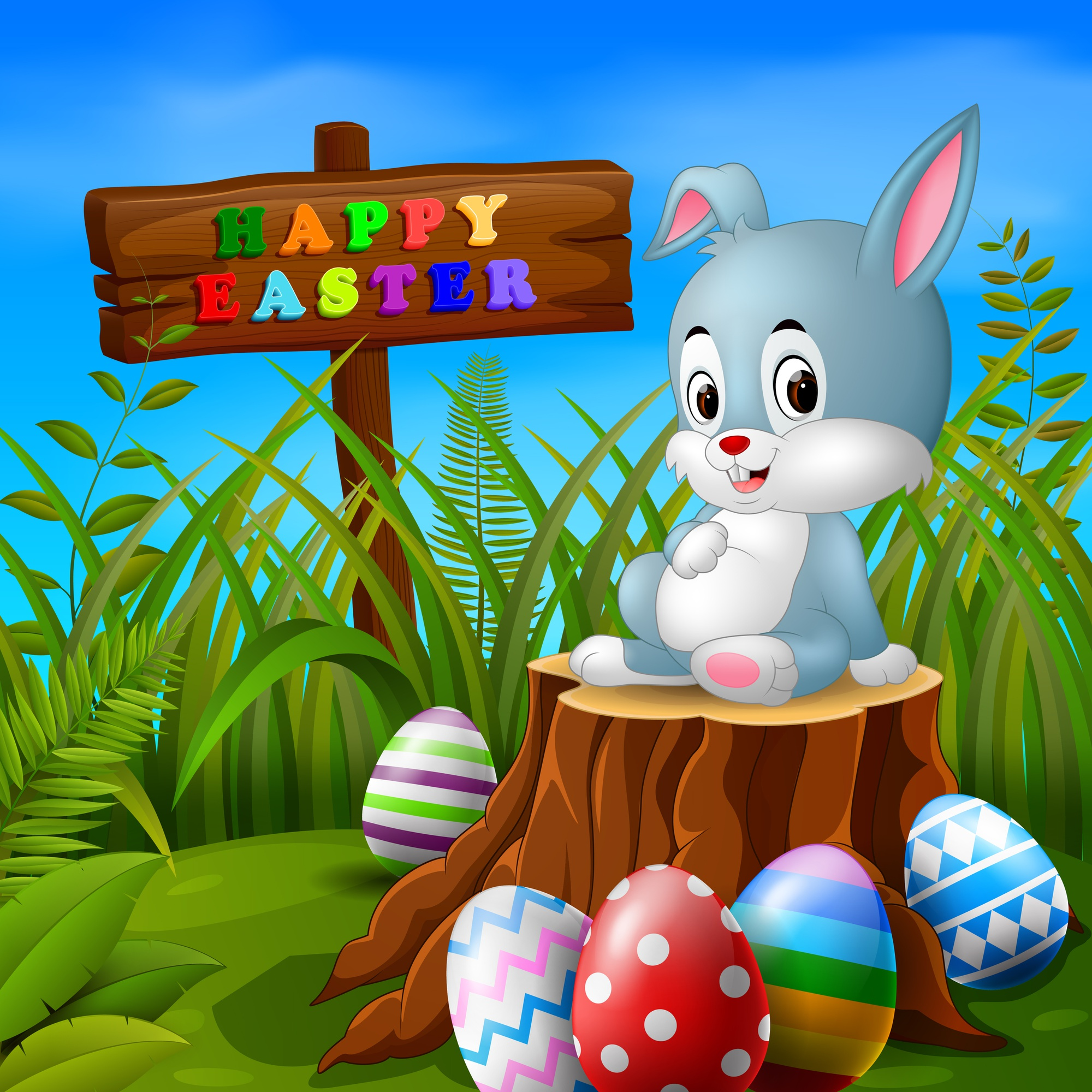 Easter bunny and eggs in garden