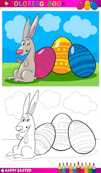 Easter bunny cartoon for coloring