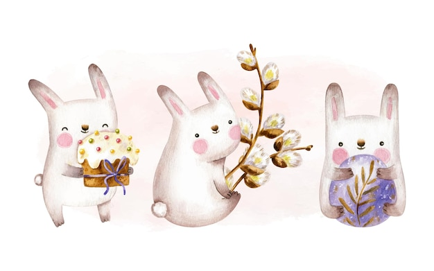 Easter bunny collection with easter cake