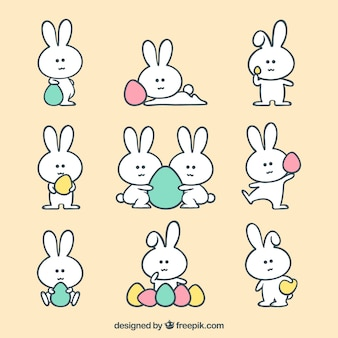 Easter bunny collection with eggs