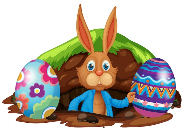 Easter bunny and colourful eggs
