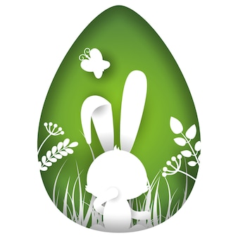 Easter bunny cut out of paper background