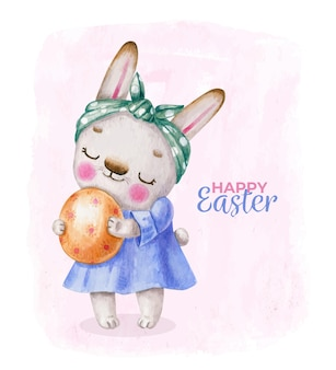Easter bunny in dress with egg in cartoon style