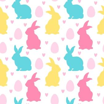 부활절 토끼 달걀 심장 원활한 패턴 부활절의 전통적인 상징