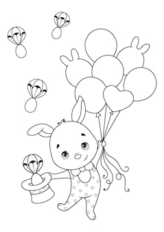 Easter bunny flies on balloons coloring page