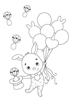 Раскраска пасхальный кролик летит на воздушных шарах