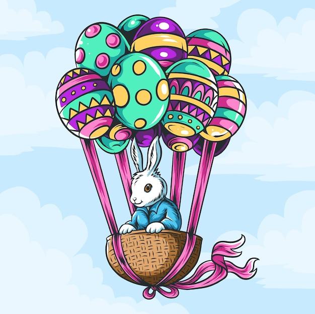 飛んでいる風船の卵とバスケットのイースターバニー