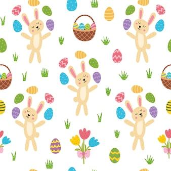 Easter bunny juggling eggs seamless pattern cute