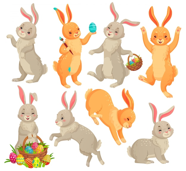 Easter bunny, jumping rabbit, dancing funny bunnies animals and rabbits easters eggs  cartoon  set