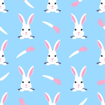 Easter bunny looks out of the hole. rabbit and carrot childish seamless pattern. can be used for the decoration of the nursery, children s clothing, kids accessories, gift wrapping, digital paper.