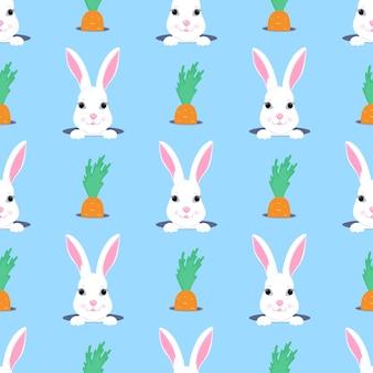 부활절 토끼는 구멍 밖으로 보인다. 토끼와 당근 아이 완벽 한 패턴입니다. 보육원, 아동복, 어린이 액세서리, 선물 포장, 디지털 종이 장식에 사용할 수 있습니다.