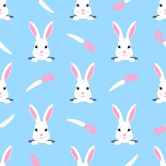 부활절 토끼는 구멍 밖으로 보인다. 토끼와 당근 유치 한 완벽 한 패턴입니다. 보육원, 아동복, 아동용 액세서리, 선물 포장, 디지털 종이 장식에 사용할 수 있습니다.