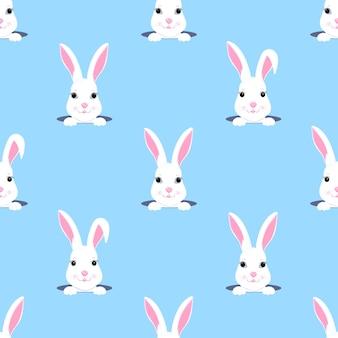 부활절 토끼는 구멍 밖으로 보인다. 토끼 아이 완벽 한 패턴입니다. 보육원, 아동복, 아동용 액세서리, 선물 포장, 디지털 종이 장식에 사용할 수 있습니다.