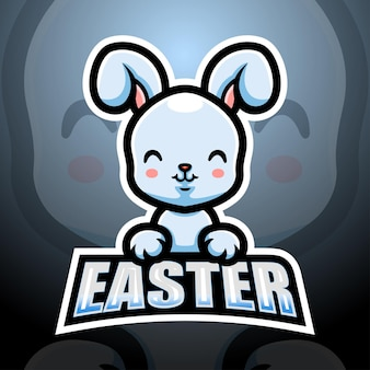 Easter bunny mascot esport illustration