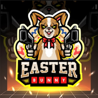 Easter bunny mascot holding a weapon esport logo design