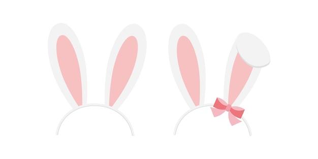 イースターバニーウサギ耳ヘッドバンドベクトルアイコンセット白い背景で隔離。