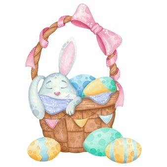 Easter bunny rabbit sleeps in easter basket. watercolor easter illustration