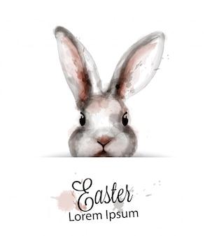 Пасхальный заяц кролик акварель