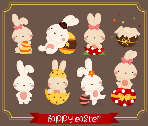 Easter bunny vector set