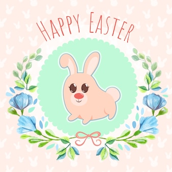 Easter bunny watercolor background