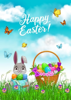 Пасхальный кролик с корзиной для охоты за яйцами в дизайне травы