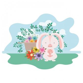 Пасхальный кролик с иконой изолированных пейзаж