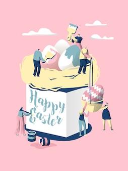 부활절 케이크. 캐릭터는 기독교 휴일을 축하하기 위해 빵을 만듭니다. 화려한 달걀로 장식하고 panettone 측면에 소원을 적어보세요. 파스카 음식. 플랫 만화 벡터 일러스트 레이션